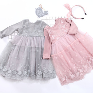 Lace Dress Fashion Beauty Children Soft Long Sleeve Knitted New Little Girls Floral Dresses Spring Autumn 40zl K2
