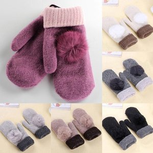 Luxury-1 Pairs Winter Gloves Fur Pompom Mittens Soft Warm Double Layer Thicken Velvet Women Gloves Knitted Wool