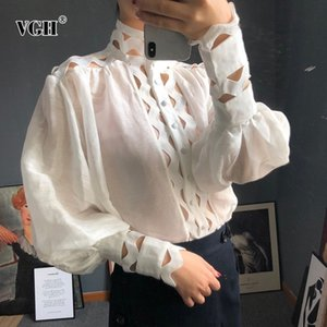 VGH Hollow Out Loose Shirts For Women Stand Collar Lantern Sleeve With Vest Blouse Female Fashion New Clothes Korean Autumn 201027