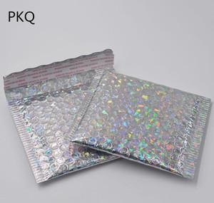 100pcs 15 * 13 cm petite feuille aluminée d'or aluminisée métallique mailer mailer shilling bulle enveloppe rembourrée gold cadeau emballage sac wmtnacl