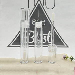 5ML Vacío de los tubos de brillo brillante contenedores Mini Balm de labios recargable Botellas con cepillo de labios Paquete de plástico Paquete de cosméticos