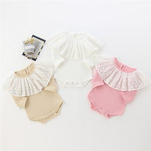 baby kids designer Autumn Long Sleeve Big Lace Collar Solid Color Design Romper clothes 100% cotton girl Boy rompers 0-2T