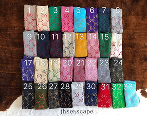 New Style Women Sport Long Socks Cotton Couple Fashion Designer Socks 33 Color Gold Thread Socks Hip Hop Stocking