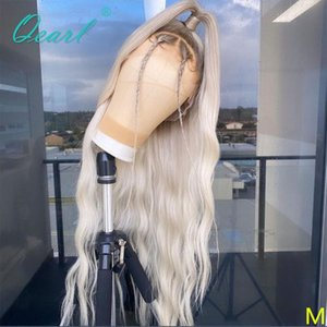 Light White Blonde Human Hair Lace Front Wigs 13x6 Transparent Lace Wig Natural Wave Remy Hair for Women 150% 180% Qearl