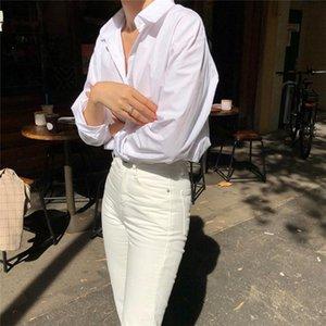 Yocalor Novo 2021 Mulheres Verão Outono Blusas Camisas Moda Único Peito Casual Vintage Oversize Oversize Tops