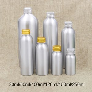 30ml 50ml 100ml 120ml 150ml 250ml Aluminum Bottle Empty Cosmetic Water Face Toners Silver Metal Container Free Shipping