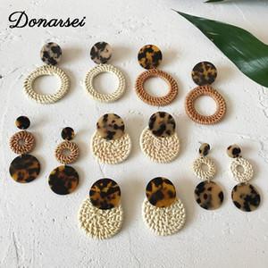 Donarsei Ethnic Leopard Acrylic Rattan Earrings For Women Geometric Handmade Weave Drop Dangle Earrings Statement Jewelry