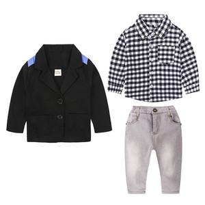Toddler Boys Clothes Sets Gentleman Suit Boys Clothing Set 3PCS Coat+Long Sleeve Shirt +pants Kids Boy Clothes