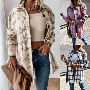 Plaid Femmes Blouse Blouse Hiver Revers Col à manches longues Plus Taille Cardigan Femmes Chemises Vintage Standard Standard Tops féminines