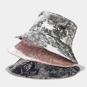 Oloey Canvas Tie-dye Graffiti Bucket Hat Women Summer Casual Solid Streetware Sun Hat Big Brim Foldable New Beach Fisherman Hats 201009