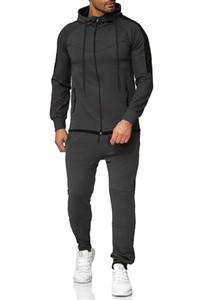 2021 New Autumn Winter Sweat Suit Set Men Gym Sportsuit Slim Casual Streetwear Male Piece Long Sleeve Hoodie Jacket Tracksuit Cerf