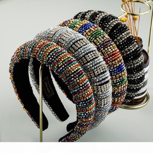 Baroque Full Crystal Headband for Woman Luxury Colorful Rhinestone Paded Hair Hoop Fashion Diamond Hair Band Bridal Wedding Headpieces
