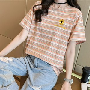 (95 5 spandex) cotton Daisy letter embroidery stripe round neck short sleeve T-shirt for women