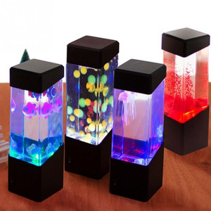 Led Jellyfish Tank Night Light Color Changing Table Lamp Aquarium Electric Mood Lava Lamp For Kids Children Gift Home Room Decor C1007