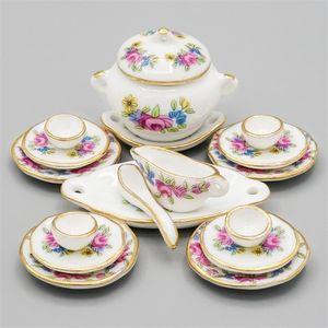 Odoria 1:12 Minyatür 17 adet Porselen Sofra Pembe Gül Dollhouse Mutfak Aksesuarları LJ201211