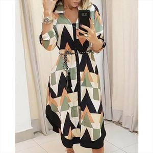 2021 Kadınlar Casual Elbise Moda Dalga Desen Split Hem Uzun Kollu Gömlek Elbise Kadınlar Için Yaka Gevşek Maxi Lady