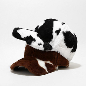 Winter Fashion Cow Print Snapback Baseball Cap Faux Fur Plush Women Cap Hip Hop Hats For Ladies Black White Baseball Cap JXW807