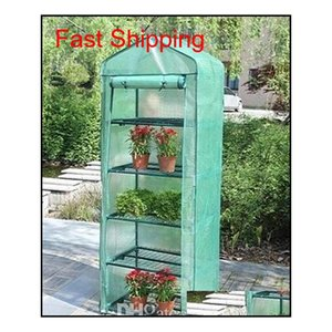 Garden Greenhouses 4 Shelves Green House Foldable Iron Tube With Pe Mesh Cloth Cover Greenhouse Portable Mini Out qylyOf yh_pack