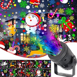Christmas Decor LED Projector Light 12 20 Patterns Disco Stage Light Laser Snowflake Santa Claus Projection Outdoor Waterproof 201023