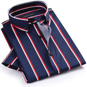 GREVOL Nouvelle mode d'été Marque 100% coton Smart Casual Hommes Shirts Homme à manches courtes Courtielle Chemise à rayures verticales