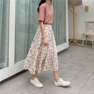 Long Skirt Womens Skirts Clothing 2020 Spring Summer White Floral High Waist Elastic Harajuku Vintage Streetwear Loose Chiffon