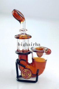 Amber Mini Tobacoo Glass Smoking pipe Sherlock hand oil burner pipe For Dry Herb Glass Blunt Smoking Pipe