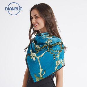 Dianruo Spagna Sciarpa di seta di lusso Designer Designer Pittura a olio floreale Scialli di seta Le signore avvolgono sciarpe scialle N3851