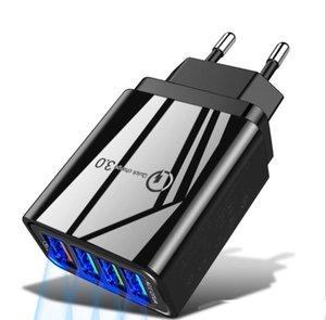 48W Quick Charge 4 Port USB-Schnell-Ladegerät QC3.0 für Samsung S10 A50 Xiaomi iPhone 11-Wand-Adapter schwarz weiß
