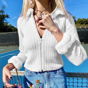 E-Girl vintage zip up full pelliccia falso call cardigan lavorato a maglia y2k moda solido sottile manica lunga a maniche lunghe cime cime dolci giacche