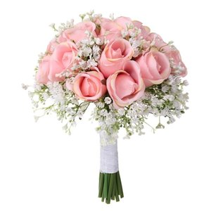 Handmade 18PCS Artificial Babysbreath Rose Bridal Wedding Bouquet With White Ribbon Real Touch For Wedding Home Party DIY Decor