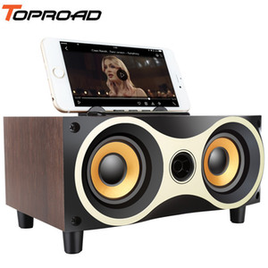 Speakers TOPROAD Desktop Wireless Bluetooth Speaker Subwoofer Stero Madeira Suporte FM Radio AUX USB Handsfree MIC Caixa de som LJ201027