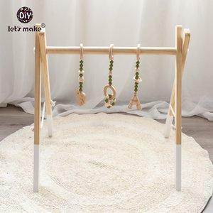 Facciamo 3Pc Bambino di dentizione Hanging Toy Set di legno sconcerta i giocattoli per i bambini Passeggino ciondolo bambino della base della campana Rattle Presepe Mobiles 201021