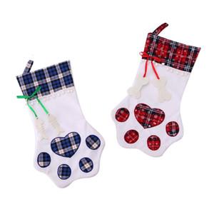 Caramelo DHL 1pc bolsas de regalo de navidad bolsa de tela escocesa creativa linda del perro de animal doméstico del hueso de pescados garra de la pata media Calcetines del árbol de Navidad