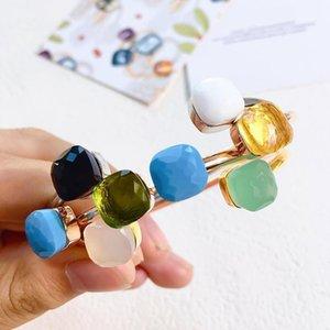 New Cute Gem style 29 Colors Crystal Stone Cuff Design Gold Bracelet Bracelet For Women Wrist Jewelry