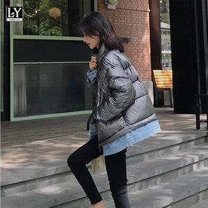 Ly Varey Lin Cotton Abrigos 2021 Nuevo otoño invierno denim Patchwork Soporte Cuello Zeip Bolsillos Cálido estilo coreano Chaquetas acolchadas
