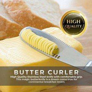 Stainless Steel Butter Spreader Knife Magic Butter Curler with Serrated Edge - 3 in 1 Kitchen Gadgets for Cut Cheese Butter Fruit Spread Jam