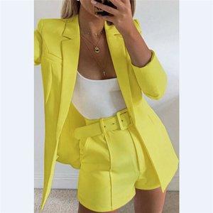 Mode für Frauen Süßigkeit-Farben-Basic-Blazer-Mantel + Hosen dünne Klage-Jacke Blazer Set X0923