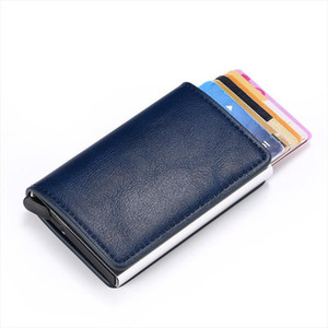 2020 venta caliente inteligente del portatarjetas del cerrojo de Bussiness RFID Monedero bloqueo carpeta de aluminio del metal mini tarjeta de crédito Dropshipping Hombre Mujeres