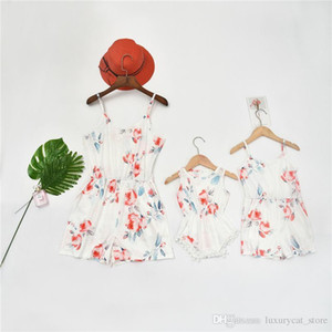 2020 Summer Mother and Daughter Matching Outfits Floral Sleeveless Women Kids Jumpsuit Newborn Romper Family Look Outfits