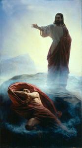 Cristo Jesús que niega Satanás en el cielo Decoración para el hogar pintado a mano HD Pintura al óleo sobre la pared de la pared de lienzo Imágenes de lienzo, F210113
