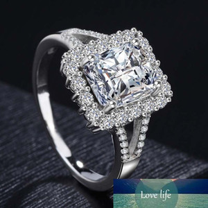 Сплошной 925 Стерлингового серебра Серебро Моисанит Алмазные Обручальные кольца Для Женщин Роскошные Предложение Обручальное Кольцо Изящные Ювелирные Изделия Подарки