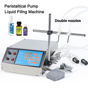2 Head Semi Automatic Peristaltic Pump Liquid Filling Machine Perfume Juice Essential Oil Bottle Water Making Machine 0.5-650ml