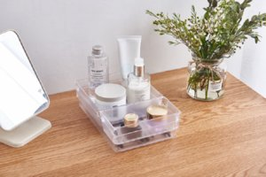 PS transparent simple desktop storage box skin care products cosmetics makeup box acrylic kitchen living room storage