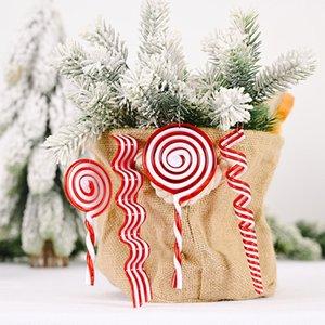 عيد الميلاد المصاصة قلادة شجرة عيد الميلاد معلق الحلي كاندي البلاستيك قصب ديكور المنزل السنة الجديدة نافيداد عيد الميلاد ديكور الأحمر الشريط الأبيض