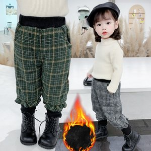 kids designer clothes girls2020 spring and Autumn New Korean Plaid thickened casual pants Plush trousers winter wear