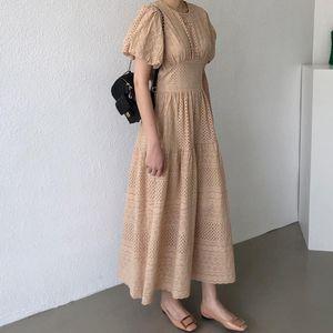 Neploe Korean Lace Hollow-out Women Dress Puff Short Sleeve O Neck Elegant Dresses 2020 New High Wiast A-line Vestidos 4B084
