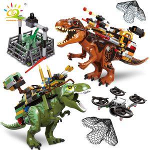 HUIQIBAO Jurassic Armed Tyrannosaurus Raptor Dinosaur Capture World Park Model Building Blocks City Figures Bricks Children Toys