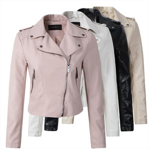 Brand Motorcycle PU Leather Jacket Women Winter And Autumn New Fashion Coat 4 Color Zipper Outerwear jacket New 2020 Coat HOT