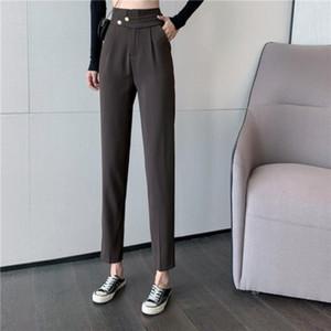 Oblique Buckle Small Trousers High Wais Harem Pants