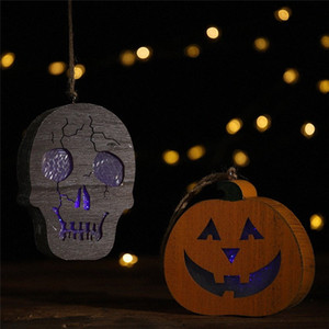 Halloween Wooden 2019 New Year Coloured Lights Human Skeleton Pumpkin Pendant Horror Hanging Lights DIY Halloween Street Light Christm g7NT#